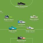 Символическая сборная игроков УЕФА 2014 и их бутсы.