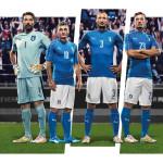 Домашний комплект формы сборной Италии 2016.