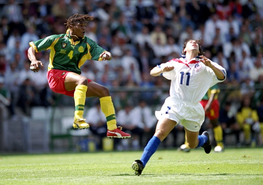 23 Jun 1998: Rigobert Song of Cameroon in action during the World Cup first round match against Chile at the Stade de la Beaujoire in Nantes, France. The match ended in a 1-1 draw. Mandatory Credit: Shaun Botterill/Allsport